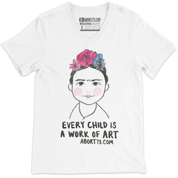 Every Child is a Work of Art: Unisex V-Neck T-Shirt
