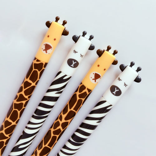 4pc Set Zebra and Giraffe Gel Pens