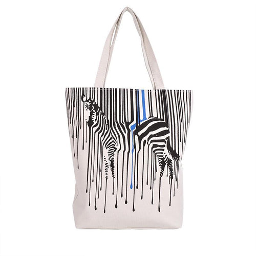 Zebra Pattern Canvas Tote