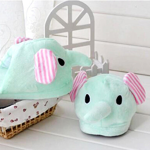 Plush Elephant Slippers
