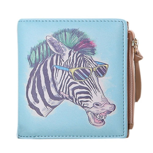 Cute Zebra Wallet Zipper Designed PU Leather