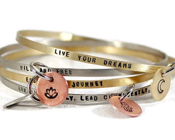 Personalized Mantra Bangle Bracelet. Mother's Day Bracelet. Disc Symbol Charm. Hand Stamped Womens Quote Bangle. Mantra Band. By DuoStef. Jewelry  Bracelets  Bangles  wife girlfriend  stacking bangles  Gift Ideas for Her  Empowering Jewelry  duo stef moti