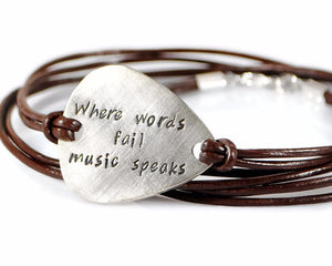 Where Words Fail Music Speaks. Personalized Guitar Pick Leather Bracelet For Men. Hand Stamped Mens Triple Wrap Bracelet.Handmade By DuoStef