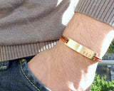 Personalized Brass Nameplate ID Leather Bracelet.