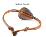 Rustic Copper Engraved Date Plectrum Bracelet.