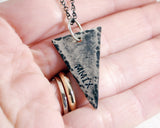 Personalized Rustic Sterling Silver Triangle Necklace.