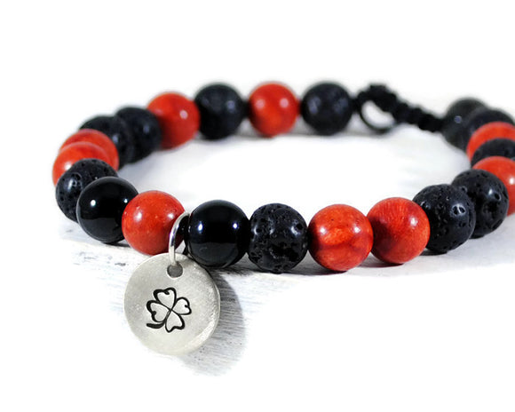 RED MAMBA Men's Lava Coral Black Onyx GemStone Adjustable Macrame Bracelet. Sterling Disc Charm Bracelet. Mens Jewelry. DuoStef Jewelry Jewelry  Bracelets  Beaded Bracelets  wife daughter women  husband boyfriend  brother sister gift  Duo Stef yoga mens bracelet  Stone Jewelry men  motivational men  protection bracelet  energy bracelet  disc charm bracelet hand stamped bangle  stacking stackable  rad black bracelet