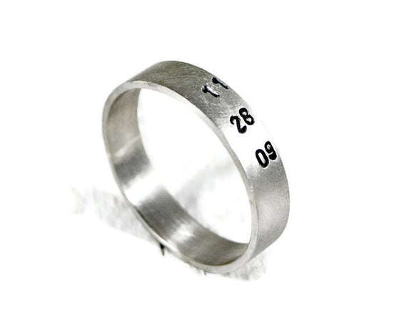 Custom Date Hand Stamped Men's Band. Personalized Men's Wide Sterling Silver Ring. Engraved Wedding Band. Promise Ring. DuoStef Jewelry Jewelry  Rings  Bands  mens wedding ring  unisex wide band  secret message ring  date names initials  motivational ring engagement ring  boyfriend husband  wife girlfriend  name date ring  commitment ring 925  promise ring for him inscription engraved  meaningful gift men