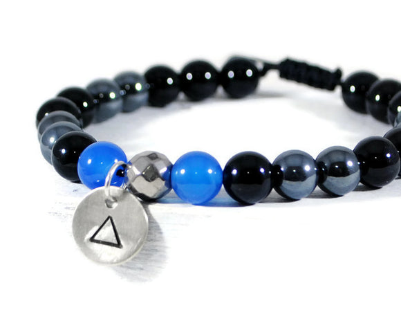 NIGHT ILLUSION Men's Hematite Black Onyx Blue Agate GemStone Adjustable Macrame Bracelet. Mens Sterling Disc Charm Bracelet. DuoStef Jewelry Jewelry  Bracelets  Beaded Bracelets  wife daughter women  husband boyfriend  brother sister gift  Duo Stef yoga mens bracelet  Stone Jewelry men  protection bracelet  disc charm bracelet  hand stamped bangle  stacking stackable triangle bracelet  black blue bracelet  meaningful gift