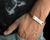 Custom Coordinates Nickel Silver Id Leather Bracelet.