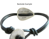 Best Bridesman Personalized Silver Guitar Pick Leather Bracelet.