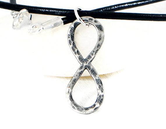 Rustic Infinity Leather Necklace Men. Sterling Silver Infinity Unisex Leather Necklace. Mens Hammered Infinity Pendant. Handmade By DuoStef