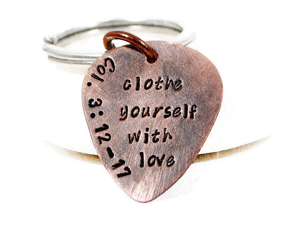 Bible Verse Keychain. Colossians Wedding Verse. Personalized Oxidized Copper Guitar Pick Keychain. Custom Hand Stamped Keychain. Mens Custom Keyring. Handmade DuoStef