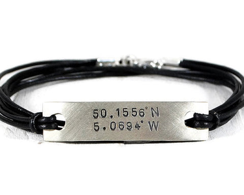 Custom Coordinates Personalized Tag Leather Bracelet. Hand Stamped Mens Triple Wrap Bracelet. GPS Latitude Longitude Bracelet. By DuoStef Jewelry  Bracelets  Bangles  wife daughter women  boyfriend friend bff  personalized women  husband boyfriend brother sister gift  Duo Stef  secret message  wrapped bracelet  leather wrapped men  motivational jewelry meaningful jewelry  mens leather bangle  message gps bangle