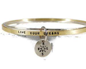 Personalized Mantra Bangle Bracelet Set. Live Your Dreams. Disc Compass Symbol Charm. Hand Stamped Womens Bangle. Mantra Band. By DuoStef. Jewelry  Bracelets  Bangles  wife girlfriend  stacking bangles  Gift Ideas for Her  Empowering Jewelry  duo stef motivational bangle  inspirational quote  yoga jewelry  compass bracelet  dream on bangle  gold silver bangle mothers day gift  graduation for her