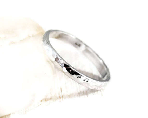 Hammered Half Round Sterling Silver Band. Unisex 3mm Wedding Band. Textured Simple Ring For Him. Mens Thick Hammered Ring. DuoStef Jewelry
