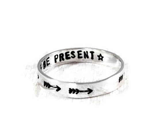 Arrow Sterling Silver Personalized Women's Ring. Be Present Hand Stamped 3mm Band.Engraved Mantra Ring. Stacking Ring. Bohemian Arrow Ring. Motivational Jewelry