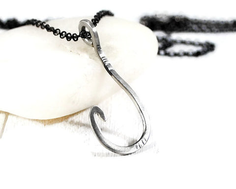Men's Sterling Fish Hook Chain Necklace. Custom Men's Silver Rolo Chain Necklace. Fisherman Gift. Men's Rustic Silver Hook Necklace. DuoStef  Jewelry  Necklaces  Charm Necklaces  husband boyfriend  necklaces for guys  brother sister  motivation necklace duo stef jewelry  wife girlfriend  meaningful men  fish hook pendant  Valentine's Day  masculine necklace  handmade jewlery Mens Jewelry  sea ocean gift