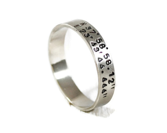 Custom Coordinates Hand Stamped Men's Band. Personalized Men's Wide Sterling Silver Ring. Engraved Wedding Band. Promise Ring. DuoStef