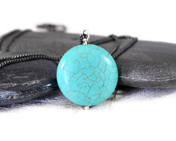 Turquoise Stone Long Necklace. Long Turquoise Necklace. Sterling Silver Turquoise Pendant. Everyday Necklace. Boho Necklace.Layered Necklace