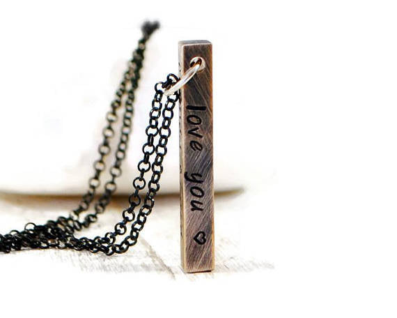 Four Sided Bar Personalized Necklace. 3d Bar Necklace. Hand Stamped Brass Bar On Sterling Chain. Initials Name Vertical Brass 3d Necklace.