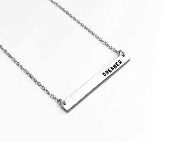 Personalized Sterling Silver Bar Necklace, Nameplate Necklace, Necklace for Her, Gift for Her, Engraved Necklace, Birthday Gifts For Women, Dreamer, Breathe Necklace. Yoga jewelry
