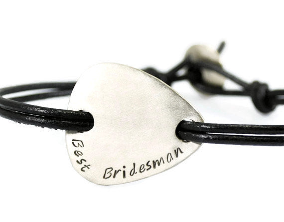 Jewelry  Bracelets  Bangles  engravable plectrum  pick bracelet men  silver plectrum men  date bracelet men plectrum bracelet  groomsmen bracelet  Duo Stef  bridesman brother  silver leather men  meaningful men  groom husband valentines day gift  motivational men