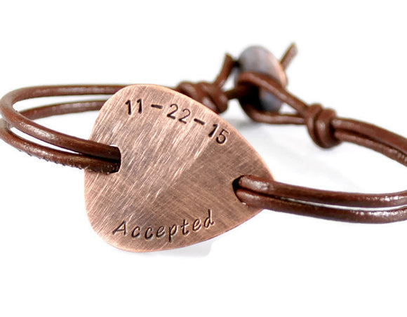 Jewelry  Bracelets  Bangles  copper men leather  copper plectrum men  double sides engrave  anniversary bracelet coordinates bracelet  engravable bracelet  rustic bracelet men  boyfriend husband  fathers day gift  Duo Stef date name initials  new father gift  best uncle gift