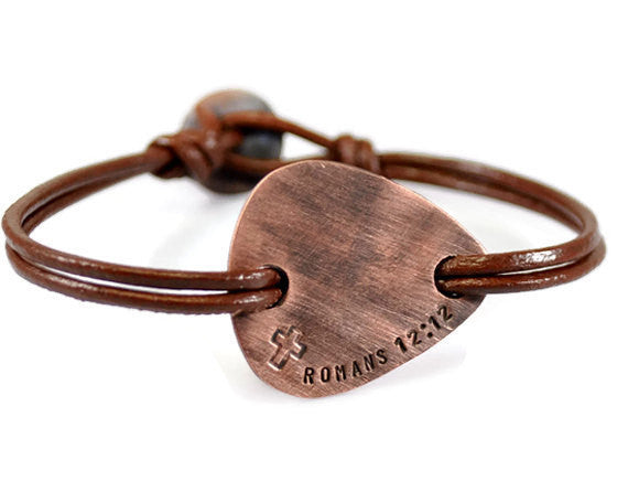 Jewelry  Bracelets  Bangles  fathers day gift  boyfriend husband  rustic bracelet men  baptism bracelet boy anniversary bracelet  be carefull bracelet  be safe bracelet  copper plectrum men  little big brother  groomsmen groom father of groom  brother in law gift  Duo Stef