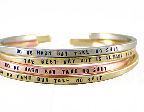 Jewelry  Bracelets  Cuff Bracelets  Positive Jewelry  gift for mothers day  personalized women  inspirational bangle wife girlfriend  motivational jewelry  gold rose gold cuff  Mantra Band cuff  mother daughter  sister best auntie  mature Duo Stef  mantra bangle