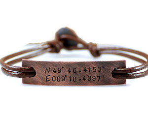 Custom Coordinates Id Tag Bracelet. Personalized Oxidized Copper Leather Bracelet. Mens Engraved Copper Nameplate Bangle. Men's Leather Wrapped Bracelet. Latitude Longitude Bracelet For Him. Handmade By DuoStef