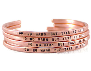 Jewelry  Bracelets  Cuff Bracelets  inspirational gift  motivation bracelet  copper engraved cuff  rose gold cuff engraved bangle  do no harm jewelry  motto jewelry  mature  Nurse Doctor gift  Meaningful gift Duo Stef  mantra bangle womens mantra band