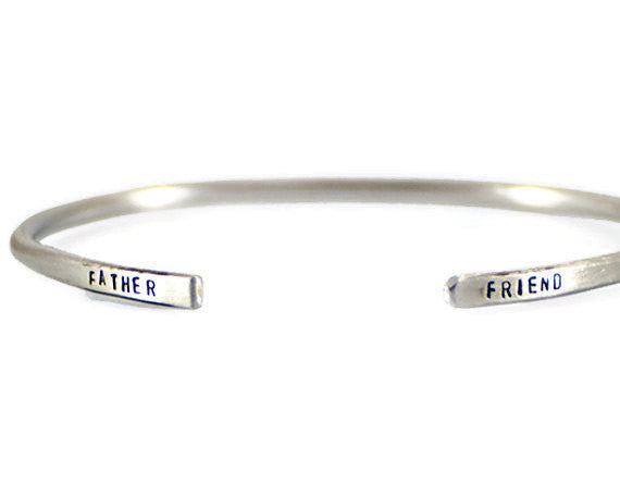 Jewelry  Bracelets  Cuff Bracelets  mens bracelet  fathers day gift  double sides stamped  valentines dad gift father of the bride  father of the groom  new father gift  simple mens bracelet  personalized men  Duo Stef husband boyfriend  mens bangle silver  mantra bangle