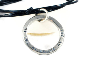 Jewelry  Necklaces  Charm Necklaces  secret message  silver washer men  valentines day gift  personalized for men husband boyfriend  engraved karma  jewelry for men  Duo Stef  brother son kids  meaningful jewelry  motivational jewelry mantra word secret  leather silver men