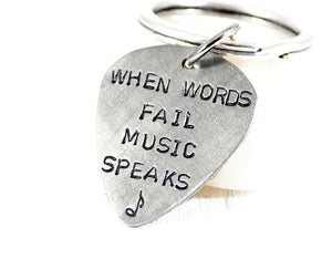 When Words Fail Music Speaks. Personalized Nickel Silver Guitar Pick Keychain. Guitar Player Keychain. Father Birthday. Hand Stamped Gift For Men. Christmas Gift. Valentines Gift Father. Musicians Personalized Keychain. Handmade By DuoStef