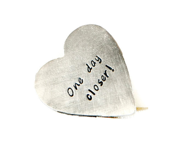 One Day Closer Custom Wallet Insert. Personalized Heart Pocket Token. Couples Heart Keepsake. Hand Stamped Silver Heart. Made By DuoStef