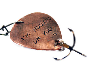 7b9fada69594 I m Hooked On You Custom Copper Fishing Lure. Personalized Anniversary Gift  For Him.