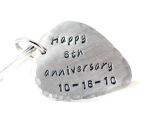Happy Anniversary Keychain. Personalized German Silver Guitar Pick Keychain. Hand Stamped Mens Gift. 6th Anniversary Gift. silver anniversary. wedding date gift