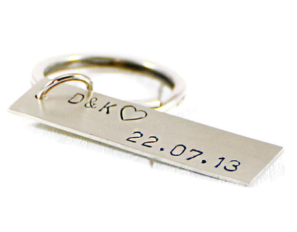 personalized keyring hand stamped keyring Accessories  Keychains & Lanyards  Keychains  personalized keyring  roman date custom  wedding date gift long distance gift  valentines day gift  Duo Stef  groom bridesman  meaningful gift men  husband boyfriend  brother bestman date initials tag  silver tag keychain  motivational gift
