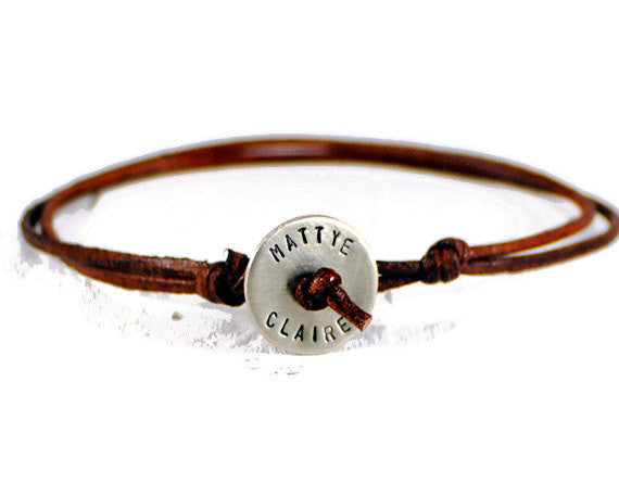Jewelry  Bracelets  Charm Bracelets  husband boyfriend  leather bracelet men  Mother's Day gift  Father's Day Gift wife girlfriend  wrapped bracelet  engraved disc bangle  stacking bracelets  minimal jewelry  initials date bangle brother sister gift  silver leather men  Duo Stef