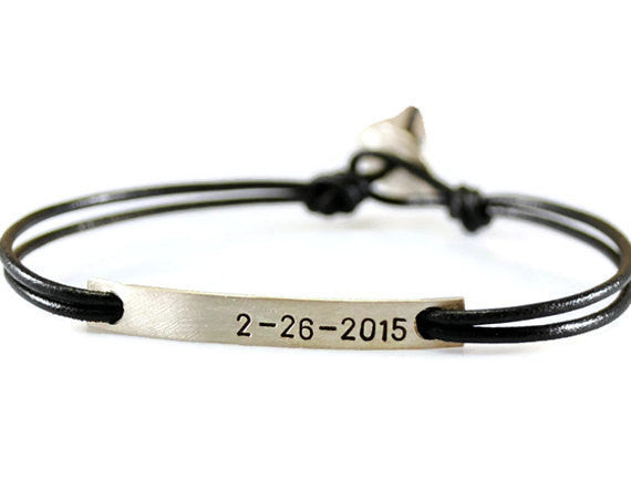 Jewelry  Bracelets  Charm Bracelets  couples bracelet  gift for him  coordinates bracelet  tag id bracelet  thin tag bracelet engraved silver tag  leather bracelet men  nameplate bracelet  bar silver bracelet  boyfriend husband  friendship bracelet personalized women  Duo Stef
