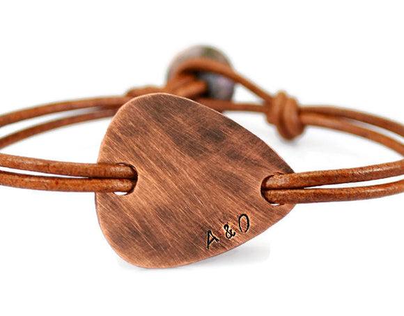 Jewelry  Bracelets  Bangles  rustic bracelet  guitar pick bracelet  engraved bracelet  pick leather men leather bracelet men  copper plectrum men  double sides engrave  Duo Stef  initials date name  husband boyfriend father grandfather  brother bestfriend  meaningful gift