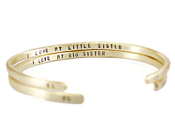 Jewelry  Bracelets  Cuff Bracelets  best friends gift  inspirational gift  girlfriend wife  engraved cuff women  Duo Stef mother daughter  sister best auntie  Mantra Jewelry  brass cuff women  big lil sister  teenager girl  christmas gift mantra bangle