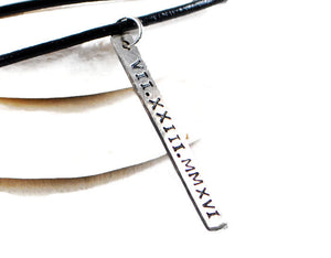 Jewelry  Necklaces  Charm Necklaces  roman date necklace  silver leather men  brother groom  father daddy gift  Duo Stef mantra word jewelry  engraved tag men  meaningful gift men  motivational jewelry  personalized women  mother father date initial tag  husband boyfriend