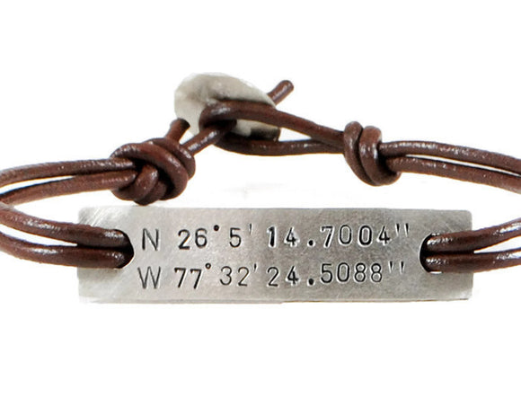 Jewelry  Bracelets  Id & Medical Bracelets  silver id bracelet  engraved bracelet  couples bracelet  Duo Stef hand stamped gps id  valentines men gift  father mother day  brother sister gift  coordinates jewelry  husband boyfriend graduation gift  meaningful men  traveller bracelet