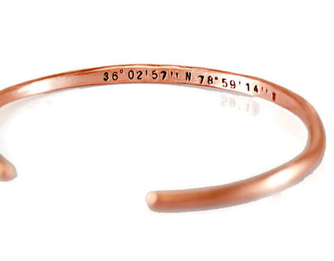 Custom Coordinates Slim Copper Cuff Bracelet. Personalized GPS Cuff Bracelet. Latitude Longitude Bracelet. Rose Gold Bangle. Made By DuoStef Jewelry  Bracelets  Cuff Bracelets  thick cuff men  rose gold cuff  valentines day  gift for groom  brother of the bride fathers day gift  mothers day gift  husband groom  Duo Stef  wife girlfriend  gps bangle rose  coordinates gold mantra bangle