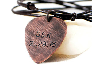 Date Initials Necklace. Hand Stamped Guitar Pick Necklace. Musicians Gift. Personalized Oxidized Copper Guitar Pick Necklace. Men's Adjustable Leather Charm Necklace. Handmade By DuoStef