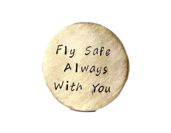 Fly Safe Always With You Custom Pocket Token. Personalized Brass Keepsake. Army Airforce Keepsake. Engraved Wallet Insert. Made By DuoStef