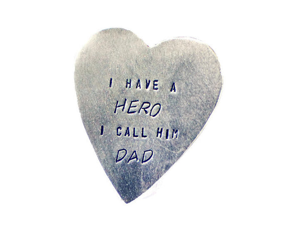 I Have A Hero I Call Him Dad Heart Wallet Insert. Dad's Heart Pocket Token. Personalized Custom Heart Nickel Silver Keepsake.Made By DuoStef