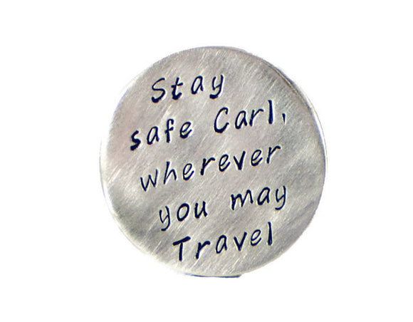 Stay Safe Wherever You May Travel. Personalized Golf Marker. Valentines Day Gift. Fathers Day Gift. Long Distance Relationship Custom Pocket Token. Personalized Nickel Silver Golf Marker. Brother Travel Wallet Insert. By DuoStef